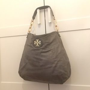 AUTHENTIC TORY BURCH GREY LEATHER CITY HOBO